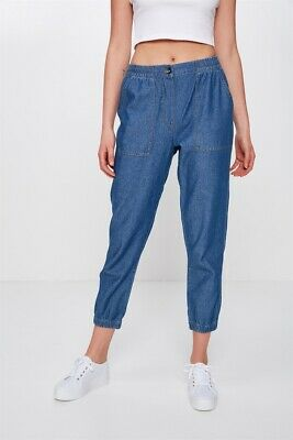 Cotton On Womens Cuffed Chino Casual Pants  In  Blue