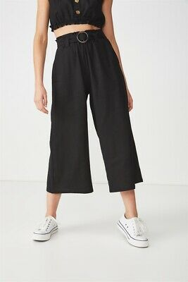 Cotton On Womens High Waist Culotte Casual Pants  In  Black