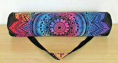 Indian Handmade Cotton Mandala Hippie Multi color Ombre Yoga Mat Carry Gym Bag