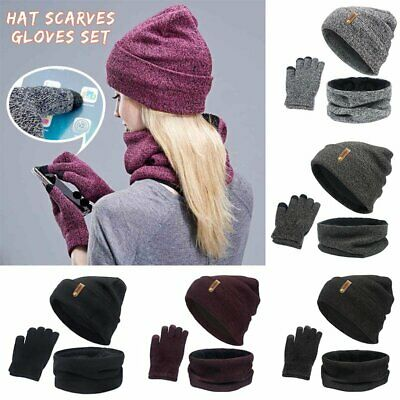 Men/Women Knitted Touch Screen Gloves Winter Beanie Hat Winter Scarves 3 pcs set