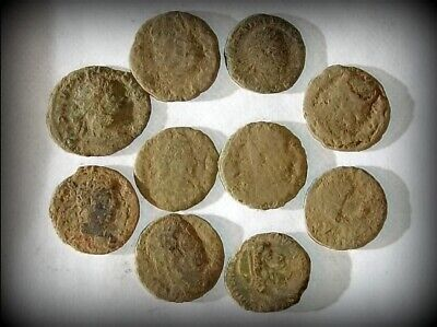 10 ANCIENT ROMAN COINS AE3 - Uncleaned and As Found! - Unique Lot 30609