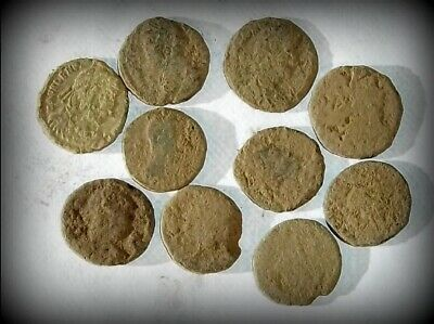 10 ANCIENT ROMAN COINS AE3 - Uncleaned and As Found! - Unique Lot 30608
