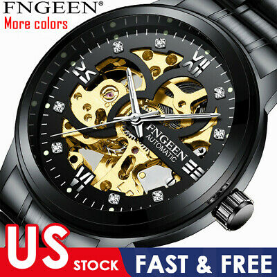 US Newest Men's Skeleton Stainless Steel Automatic Mechanical Sport Wrist Watch