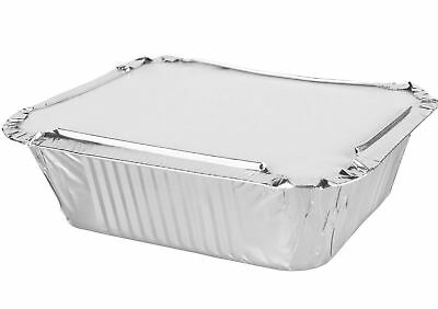 1000 x No 2 ALUMINIUM FOIL FOOD CONTAINERS + LIDS PERFECT FOR TAKEAWAYS OR HOMES