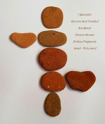 7 Genuine Surf Tumbled Sea Beach Ancient Roman Pottery Fragments • Israel #21