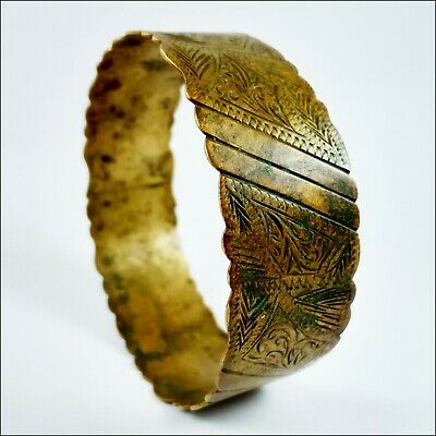 Ancient Bracelet Bronze, Artifact Extremely Wearable Gold Color, Rare Old Bangle