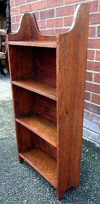 Victorian antique Arts & Crafts solid oak compact open library bookcase shelf