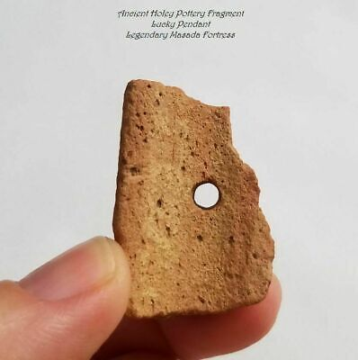 Ancient Holey Pottery Fragment Lucky Pendant - Legendary Masada Fortress Israel