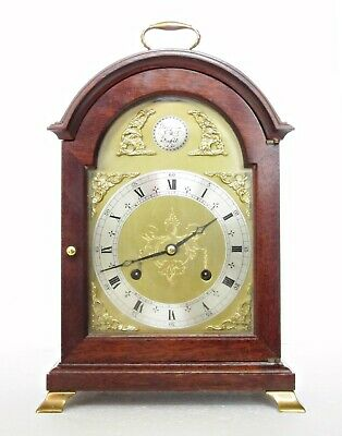 Fine Comitti London Bell-Striking Bracket Clock Mahogany, Brass Fittings, Hermle