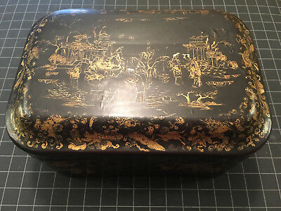 ANTIQUE 19th CENTURY QING CHINESE GILT BLACK LACQUER EXPORT TEA CADDY