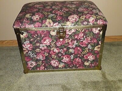 Vintage Deco Trunk Company Floral Padded Foot Rest Sewing Storage Trunk Basket