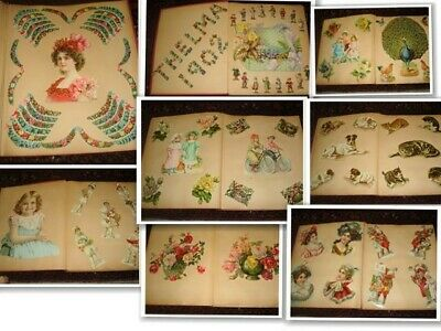 1902 Victorian Scrapbook with Die Cut SCRAPS 34 Pages Floral People Animals
