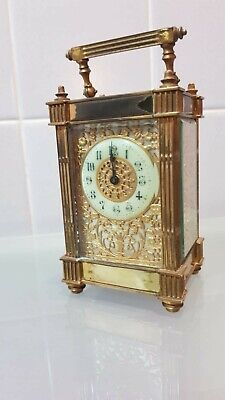 Antique French Carriage Clock Gilt Filigree On 3 Sides Project