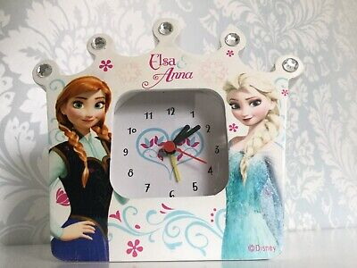 Disney Frozen Anna &Elsa Crown With Gems Clock Battery Operated Childrens
