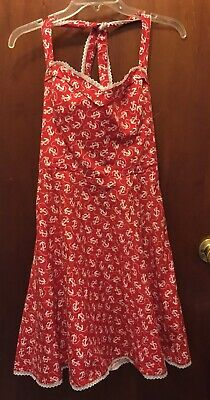 Woman BETSEY JOHNSON red White Halter Anchor Print Silk Dress Sz Small Euc