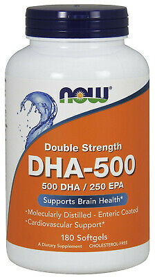 (180g, 23,31 EUR/100g) NOW Foods DHA-500, Double Strength 500 DHA / 250 EPA - 1