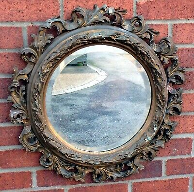 Victorian antique Rococo revival gilt gesso leafy bevelled wall hall pier mirror