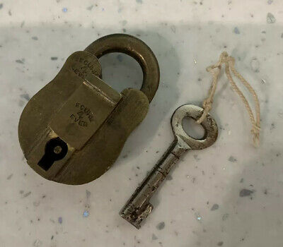 Lovely Antique Vintage Solid Brass Secure 4 Lever Padlock Lock 85 With Key