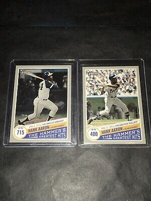 Lot (2) 2019 Topps Heritage The Hammers Greatest Hits Hank Aaron #400 & #715