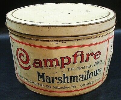 "Antique Tin Campfire Marshmallows 10"" Jar Box Container Baking Kitchen Litho Art"