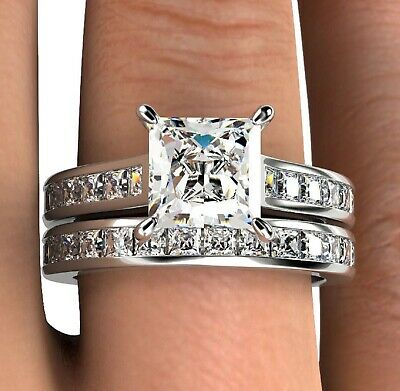 3.80Ct Princess cut Solitaire Diamond Engagement Ring Band Solid 14K White Gold