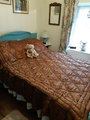 BEAUTIFUL Antique Vintage French Silky Satin Damask Quilt with Valance Frill