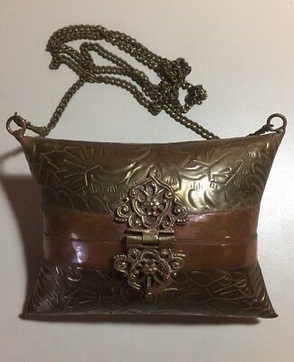 Antique French Mixed Metal Brass Copper Purse