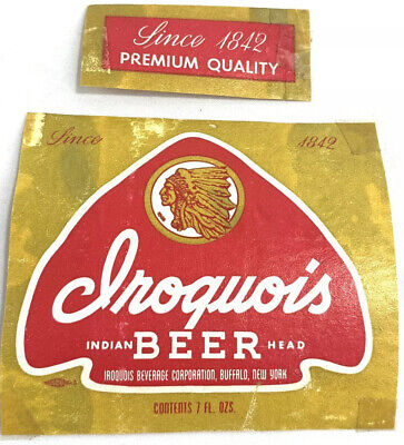Iroquois Indian Head Red Arrowhead Beer Bottle Paper Label Buffalo New York NY