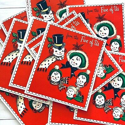 VTG NOS Unused Hallmark Christmas Cards + Box - 25 Cards MCM Snowman Five of Us