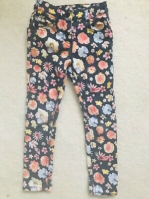 Girls Black Multi Floral Trousers Age 5-6 Years From M&S