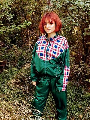 Vintage 80's Track Jogging Suit Nylon Green Red Plaid