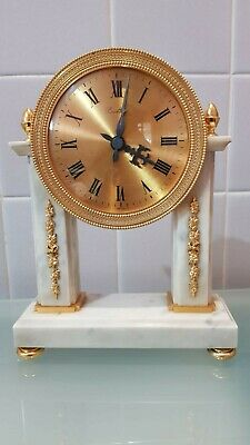Fine Ormolu and Marble Striking Swiss Bucherer Portico Mantle Clock