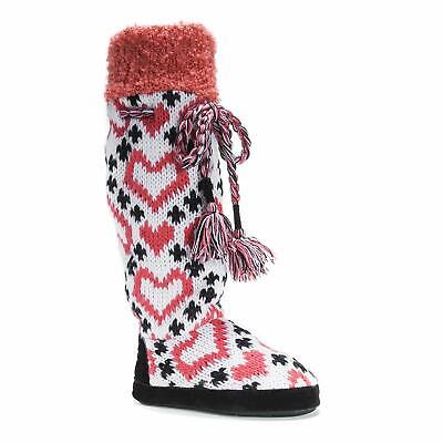 MUK LUKS Women's Angie Tassel Tall Slipper Boot Coral Hearts Size Medium 7-8 NEW