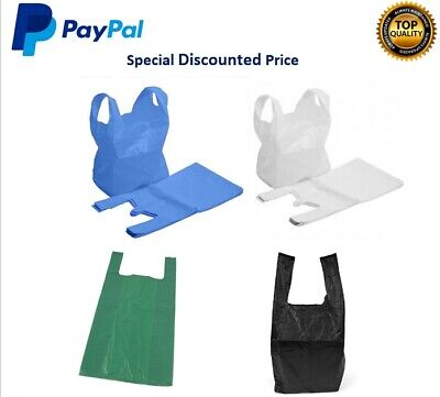 Plastic Carrier Bags Strong Vest Shopping Supermarket Shop Takeaway [All Sizes]