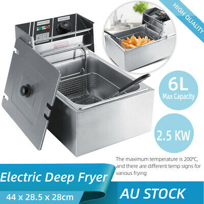 6L Deep Fryer Single Frying Chef Electric Commercial Basket Chip Cooker 2.5 KW