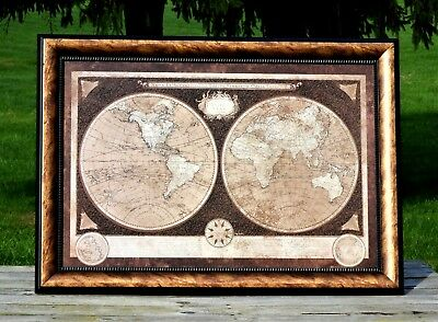 Old World Map Rectangular Framed Twin Hemisphere Gold & Black Knock Down Relief