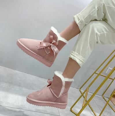 Women Girls Sweet Fashion Candy Color Bowknot Snow Boots Winter Thick Warm Boots