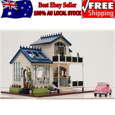 Wooden DIY Doll House The Furniture Dolls Dollhouse Miniature Kit Kids Xmas Gift
