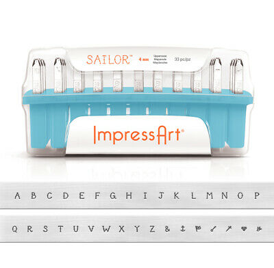 NEW ImpressArt Sailor Upper ase Letter ABC Jewelry Stamping Set Metal Punches