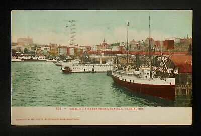 1907 Section of Water Front Steamers Pier Pacific Coast Co. Boats Seattle WA PC