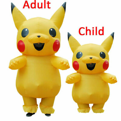 Adult Kids Pikachu Mascot Inflatable Costume Halloween Party Cosplay Dress AU34