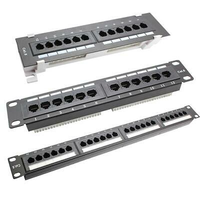 12/24 Port CAT6 Patch Panel RJ45 Networking Wall Mount Rack Mounted Bracket NEW