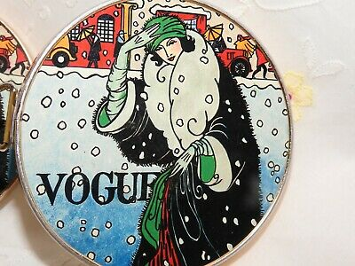 Vintage Deco Revival 'Vogue' Cover Fold-A-Way Purse Mirror circa 1970's-1980's.
