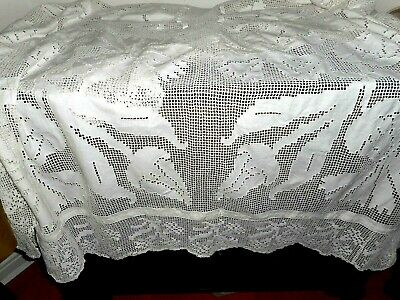 Antique all hand made, embroidered and crocheted large white cloth