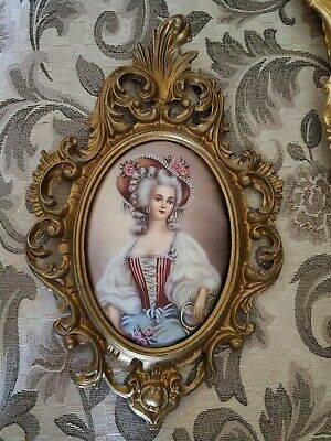Rococo Baroque Antique Gold Portrait Picture Of A Lady Made In Italy