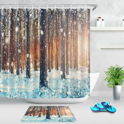 72 x 72in Forest Shower Curtain Winter Snow on Trees Bath Curtains Decor Set