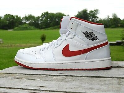 NIKE AIR JORDAN 1 mi Blanc Noir Gym Rouge EUR 127,25