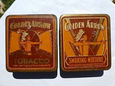 A Pair of 1oz GOLDEN ARROW tobacco tins by Michelides, Perth