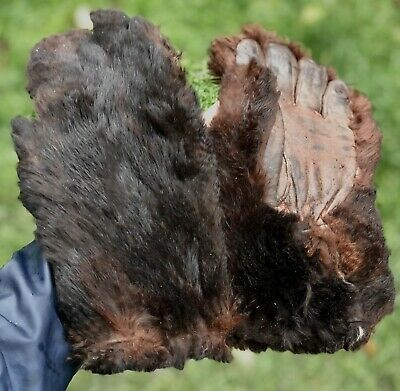 Antique Vintage Faux Synthetic Artificial Fur Victorian Coachman Driving Gloves