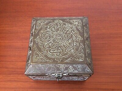 Antique Middle-Eastern Etched Brass Cigarette Box